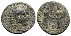Ancient Coins - Lydia, Apollonis(?). Æ - Herakles / Two figure clasping hands - RARE