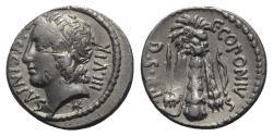 Ancient Coins - Q. Sicinius, C. Coponius, Rome, 49 BC. AR Denarius - EXTREMELY RARE with head left