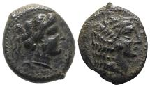 Ancient Coins - Sicily, Himera as Thermai Himerensis, late 4th - early 3rd century BC. Æ - Female head / Head of Herakles - RARE