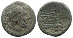 Ancient Coins - ROME REPUBLIC Anonymous, Rome, after 211 BC. Æ Semis Head of Saturn / Prow of galley