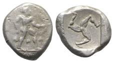Ancient Coins - Pamphylia, Aspendos, c. 465-430 BC. AR Stater. Warrior  R/ Triskeles