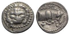 Ancient Coins - Islands of Ionia, Samos, c. 210-185 BC. AR Tetrobol. Facing lion's scalp. R/ Forepart of bull