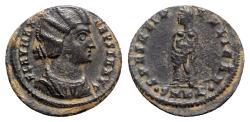 Ancient Coins - Fausta (Augusta, 324-326). Æ Follis - Cyzicus - R/ Spes