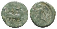 Ancient Coins - Sicily, Himera, c. 425-409 BC. Æ Tetras or Trionkion. Pan riding goat  R/ NIKE