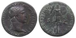 Ancient Coins - Trajan (98-117). Æ Dupondius. Rome, c. 103-107. R/ Trophy with two shields at base.