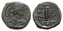 Ancient Coins - Justin II (565-578). Æ 10 Nummi - Thessalonica, year 5