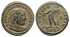 Ancient Coins - Galerius (Caesar, 293-305). Æ Follis - Serdica - R/ Genius