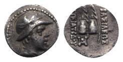 Ancient Coins - Baktria, Indo-Greek Kingdom. Eukratides I (c. 170-145 BC). AR Obol