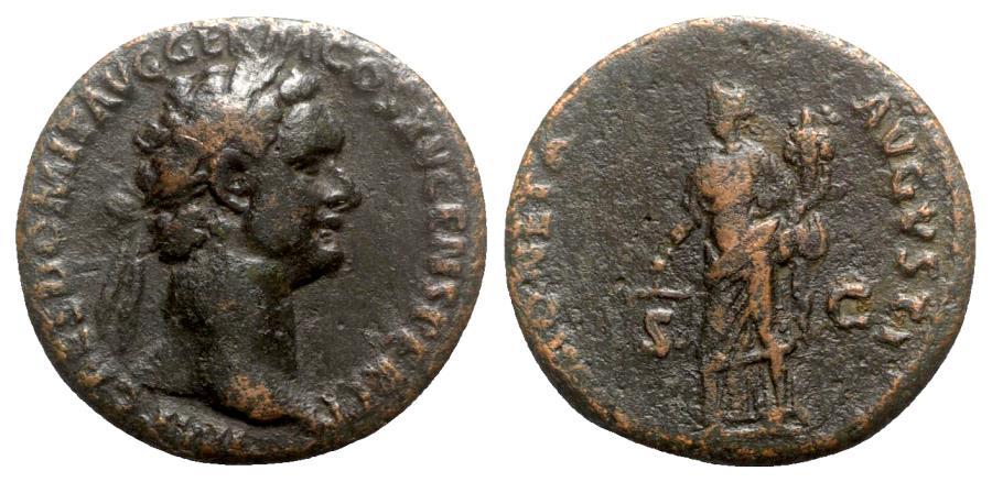 Ancient Coins - Domitian (81-96). Æ As - Rome - R/ Moneta