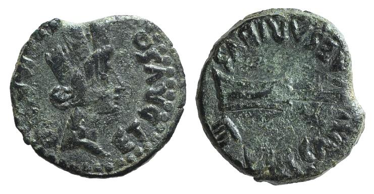 Ancient Coins - Tiberius (14-37). Spain, Carteia. Æ 18mm. Germanicus and Drusus, Caesars, among the quattorviri.