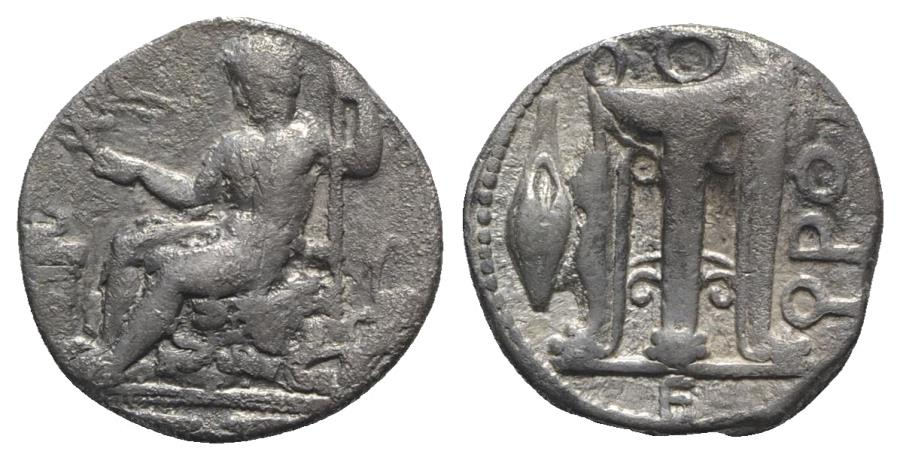 Ancient Coins - ITALY, Bruttium, Kroton, c. 425-350 BC. AR Stater. Youthful Herakles seated l. on rock covered by lion skin VERY RARE