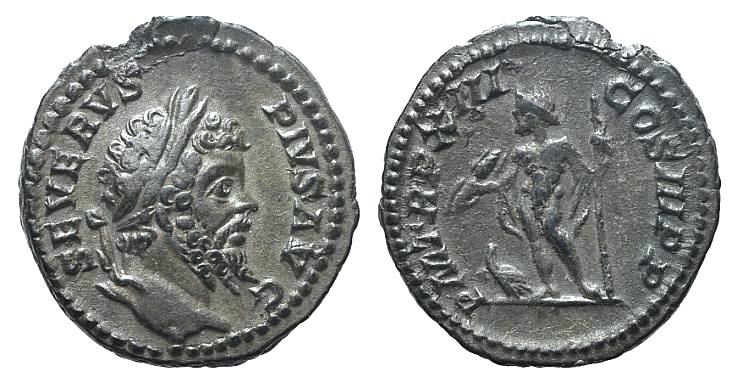 Ancient Coins - Septimius Severus (193-211). AR Denarius. Rome, 205. R/ Jupiter