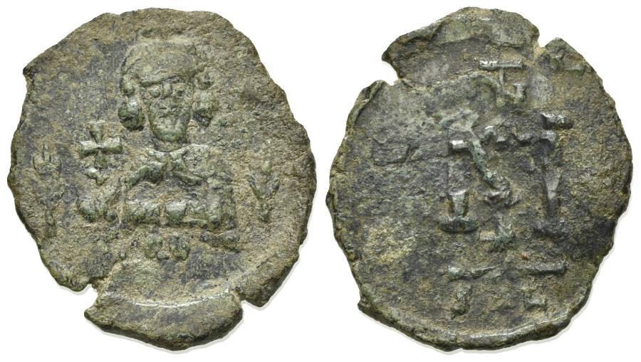 Ancient Coins - Justinian II (First reign, 685-695). Æ 40 Nummi - Follis. Syracuse. RARE