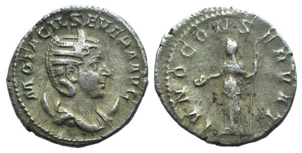 Ancient Coins - Otacilia Severa (Augusta, 244-249). AR Antoninianus (22mm, 3.88g, 6h). Uncertain (Antioch?) mint, 246-248. R/ Juno