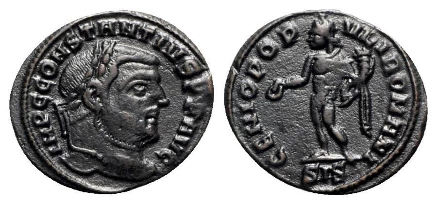 Ancient Coins - Constantius I (305-306). Æ Quarter-Follis - Siscia - R/ Genius