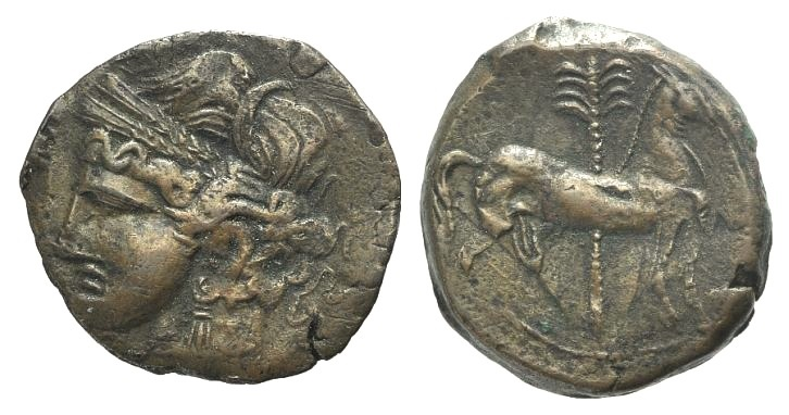 Ancient Coins - ZEUGITANIA, Carthage. Circa 210-202 BC. AE 24mm  NICE and RARE