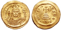 Ancient Coins - Heraclius (610-613) GOLD Solidus. Constantinople . GOOD EXTREMELY FINE