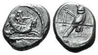 Ancient Coins - PHOENICIA, Tyre. Uncertain king. Circa 425-394 BC. AR Shekel  Melkart riding hippocamp