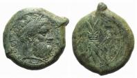 Ancient Coins - Sicily, Syracuse, c. 339/8-334 BC. Æ Hemidrachm, c. 344-339/8 BC.