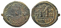 Ancient Coins - Maurice Tiberius. 582-602. Æ Follis. Theoupolis (Antioch) mint, 3rd officina. Dated RY 12 (593/4).