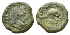 Ancient Coins - ITALY. LUCANIA, Paestum (Poseidonia). Second Punic War. 218-201 BC. Æ Quadrans  R/ DOLPHIN