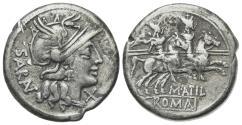 Ancient Coins - ROME REPUBLIC M. Atilius Saranus, Rome, 148 BC. AR Denarius. R/ Dioscuri on horseback