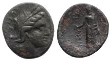 Ancient Coins - Sicily, Akragas, after 210 BC. Æ - Kore / Asklepios