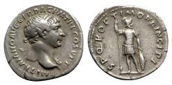 Ancient Coins - Trajan (98-117). AR Denarius - Rome - R/ Mars
