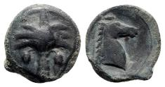 Ancient Coins - Sicily, Carthaginian Domain, c. 4th-3rd century BC. Æ 19mm. Palm tree. R/ Horse's head