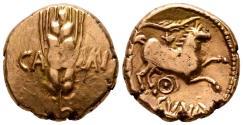 Ancient Coins - Celtic, Trinovantes & Catuvellauni. Cunobelin (c. AD 8-41). AV Stater. Camulodunum (Colchester).