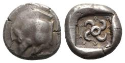 Ancient Coins - Lycia, Teththiweibi (c. 440-430 BC). AR Stater. Kyndyba (?) mint. Forepart of boar. R/ Triskeles