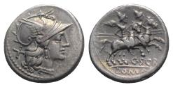 Ancient Coins - Roman Republic - C. Scribonius, Rome, 154 BC. AR Denarius