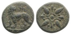 Ancient Coins - Ionia, Miletos. Time of Mausolus (377-353 BC). Æ 12mm