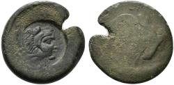 Ancient Coins - Sicily, Akragas, c. 425/0-410/06 BC. Æ Hemilitron c/m: head of Herakles