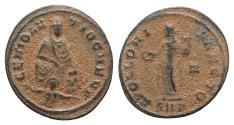 Ancient Coins - 'Persecution' issue, time of Maximinus II (310-313). Æ 15mm. Antioch. Tyche / Apollo