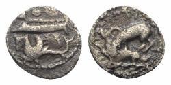 Ancient Coins - Phoenicia, Byblos (Gebal), 'Ozba'al (c. 400-365 BC). AR 1/16 Shekel