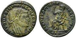 Ancient Coins - Divus Maximianus (died AD 310). Æ Half Follis. Siscia, 317-8.  R/ Veiled emperor seated