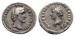 Ancient Coins - Antoninus Pius with Marcus Aurelius as Caesar (138-161). AR Denarius