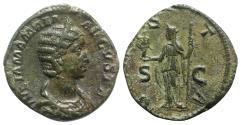 Ancient Coins - Julia Mamaea (Augusta, 222-235). Æ Sestertius. Rome, AD 226. R/ VESTA