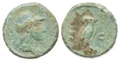 Ancient Coins - Anonymous, time of Domitian to Antoninus Pius, 81-161. Æ Quadrans. Rome. Helmeted bust of Minerva. R/ OWL