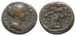 Ancient Coins - Faustina Junior (Augusta, 147-175). Egypt, Alexandria. BI Tetradrachm, year 12 of Antoninus Pius (148/9).  R/ Dikaiosyne seated