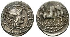 Ancient Coins - ROME REPUBLIC M. Acilius M.f., Rome, 130 BC. AR Denarius. R/ Hercules driving triumphal quadriga