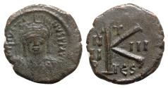 Ancient Coins - Justin II (565-578). Æ 20 Nummi - Thessalonica, year 3