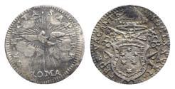 World Coins - ITALY. Papal States, Roma, Sede Vacante 1691. AR Mezzo Grosso. Papal arms. R/ Dove RARE