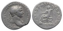 Ancient Coins - Trajan (98-117). AR Denarius. Rome, 112-3. R/ Divus Trajan Pater seated