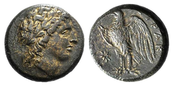 Ancient Coins - Sicily, Syracuse, Hiketas II (287-278 BC). Æ 21mm. Head of Zeus Hellanios. R/ Eagle