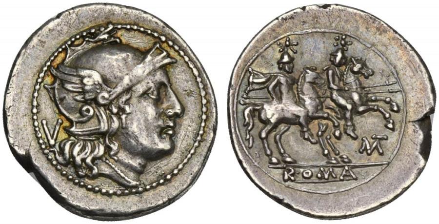 Ancient Coins - ROME REPUBLIC MT series, AR Quinarius, Apulia, 211-210 BC. NICE !!