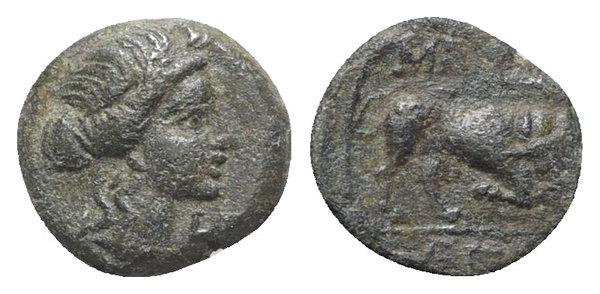 Ancient Coins - Gaul, Massalia, c. 150-100 BC. Æ 11mm. R/ BULL