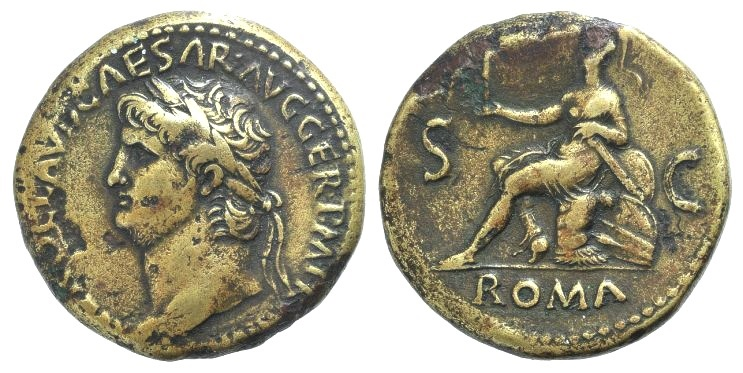 Ancient Coins - Nero. AD 54-68. AE Sestertius. Rome mint. Struck circa AD 65. R/ Roma seated left