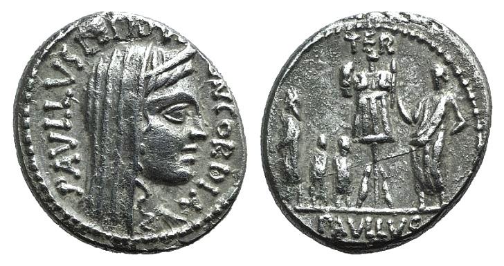 Ancient Coins - Rome Republic L. Aemilius Lepidus Paullus, Rome, 62 BC. AR Denarius